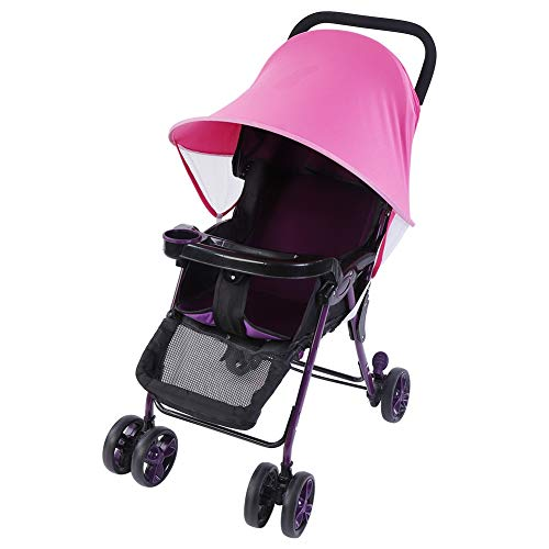 Dibiao Cochecito de Bebé para Niños Silla de Paseo Sombrilla Protección Uv de Verano Cubierta de Dosel para Buggy (Rosa Roja)