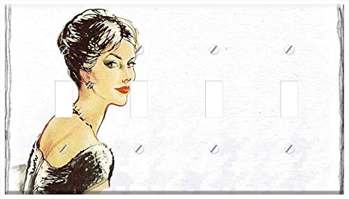 Switch Plate 4 Gang Toggle - Vintage Lady Fashion Drawing Red Lips Beauty