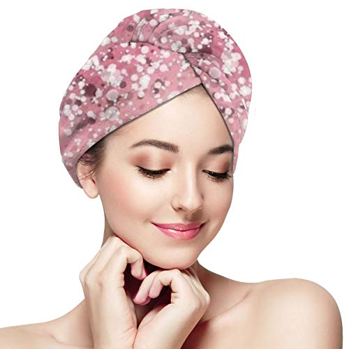 Rose Gold Pink Glitter Microfiber Hair Towel Wraps with Button for Women Quick Dry Anti-frizz Head Turban for Long Thick Curly Hair Super Absorbent So