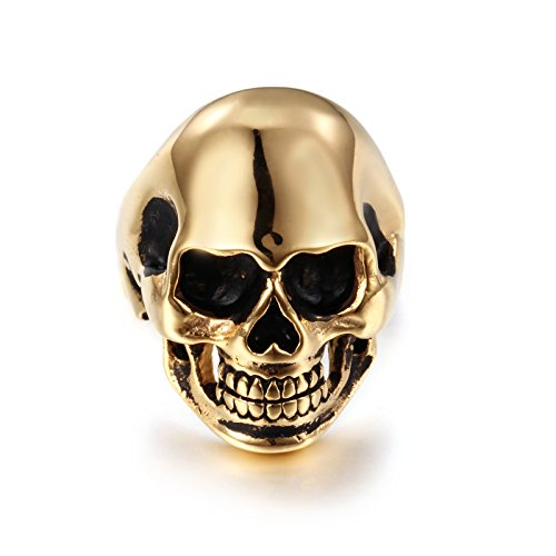 NELSON KENT Cabeza de cráneo Negro para Hombre Cabeza de Fantasma Anillo de Acero Titanio Gold tamaño 17