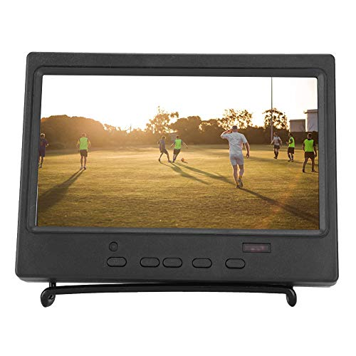 7 Zoll Monitor,Portable LED Monitor 1024x600 HDMI Monitor Multifunktion 16: 9 LCD Display,HDMI LED Gaming Monitor mit Ständer,Unterstützt AV HDMI VGA Fernbedienung EU Stecker(Schwarz)