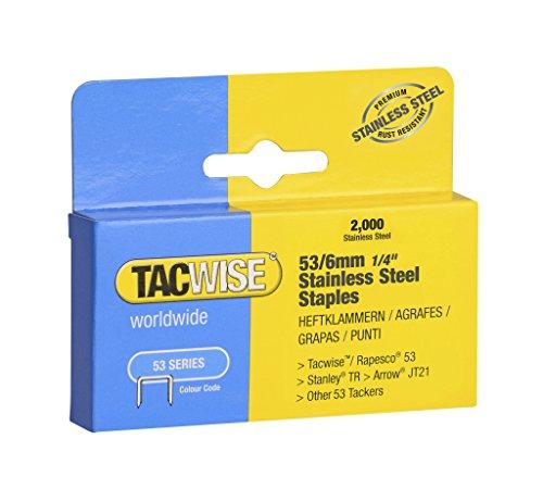 Tacwise-Heftklammern, Typ 53/6mm, Edelstahl für Heftpistole, 2000Stück