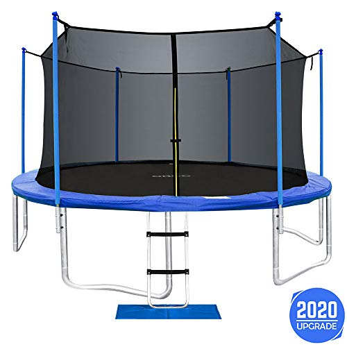 ORCC New Upgrade 15 14 12FT Trampoline for Kids Adults with Safety Enclosure Net Wind Stakes Rain Cover Ladder, Safe Outdoor Trampoline for Backyard