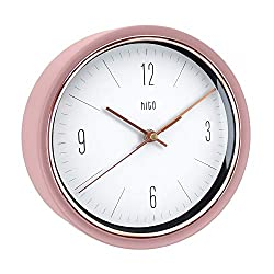 HITO Silent Non Ticking Wall Clock Glass Front Cover Accurate Sweep Movement 9 inch Decorative for Kitchen, Living Room, Bedroom, Office, Classroom (Pink)