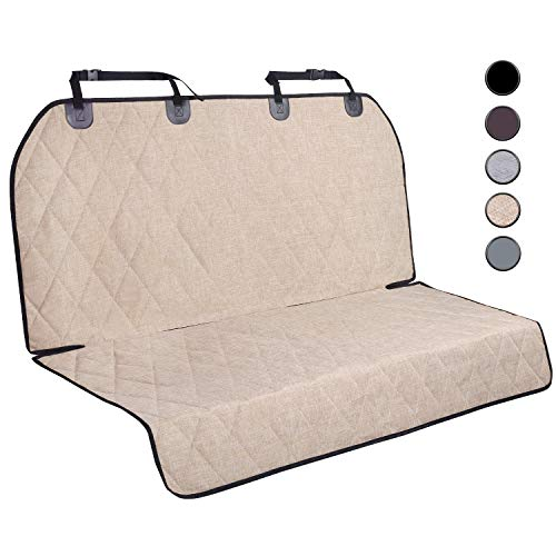 """Vivaglory Dog Back Seat Cover, No-Skirt Design, Quilted & Durable 600 Denier Oxford Car Rear Seat Cover with Anti-Slip Backing for Most Cars, SUVs & MPVs, Heather Khaki, 46"""" (L) 57"""" (W)"""
