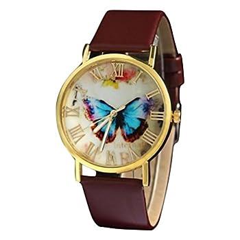Women Girls Analog Quartz Watches with Leather Band Cuekondy Fashion Butterfly Style Business Dress Wrist Watch Bracelet  Brown