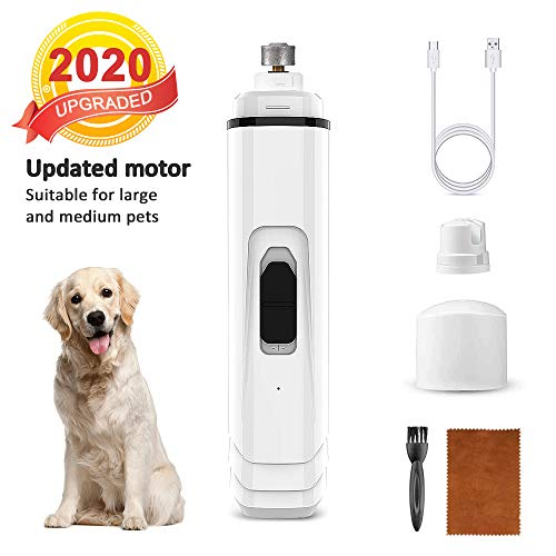 Hobea Dog Nail Grinder Upgraded - Professional 2 Speed USB Rechargeable Dog Nail Trimmer Painless Paws Grooming Smoothing for Small Medium Large Pets