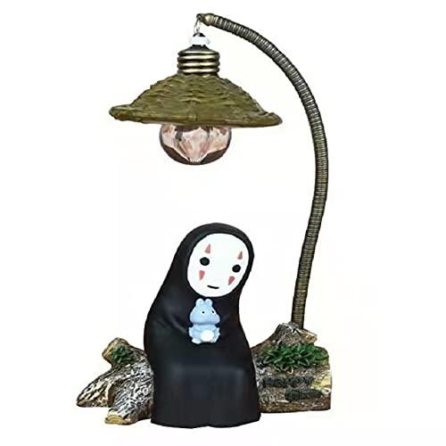 Spirited Away's Faceless Night Light Chi to Chihiro Table Lamp Hayao Miyazaki Anime Kaonashi Children's Gifts Children's Toys Home Decor Crafts Decorative Sleeping Lamps (Black)