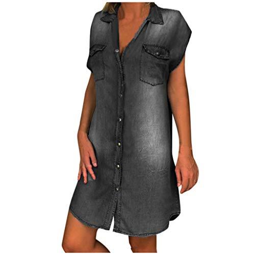 ReooLy Vestido de Bolsillo de Mezclilla con Botones y Solapa sin Mangas para Mujer (Negro,L)