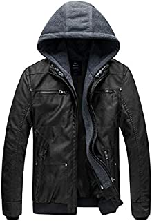 Men's Faux Leather Jacket with Removable Hood Motorcycle Jacket Casual Vintage Warm Winter Coat