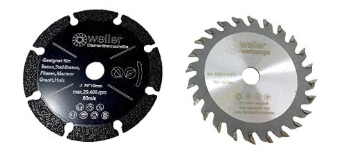 Juego de discos de corte de diamante y hojas de sierra (76 x 10 mm, apto para mini amoladora angular, con batería, disco de corte multisierra