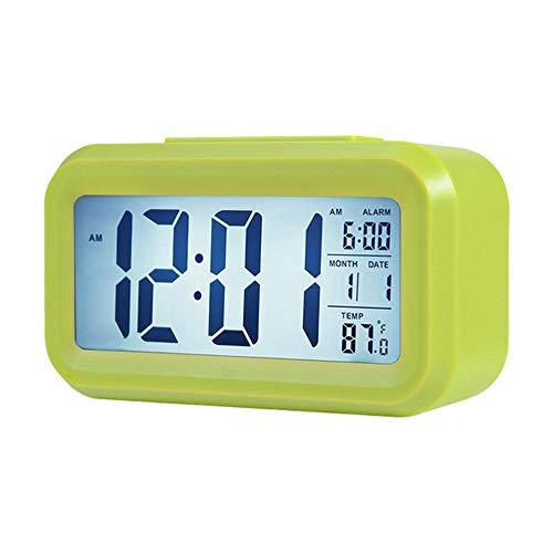 Cucudy Despertador digital inteligente com botão de adiamento de data e temperatura na parte superior Relógio de mesa retangular operado por bateria com luz noturna para quarto de crianças Crianças