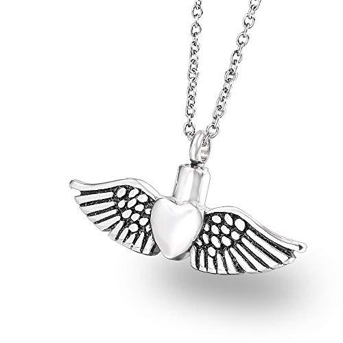 KXBY as Urns Urn Crematie as Hanger hart van veren Urn huisdier as Hanger Engel S vleugels roestvrij staal Aroma parfum etherische olie fles titanium staal ketting