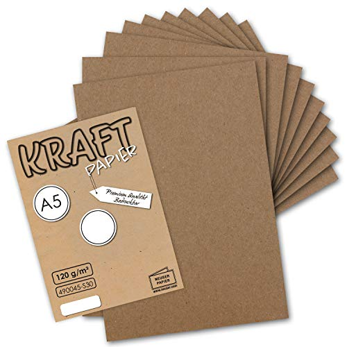 50 Blatt - Vintage Kraftpapier DIN A5 120 g/m² braunes Recycling-Papier - 21 x 14,8 cm - 100% ökologisch Brief-Bogen - Briefpapier - NEUSER PAPIER
