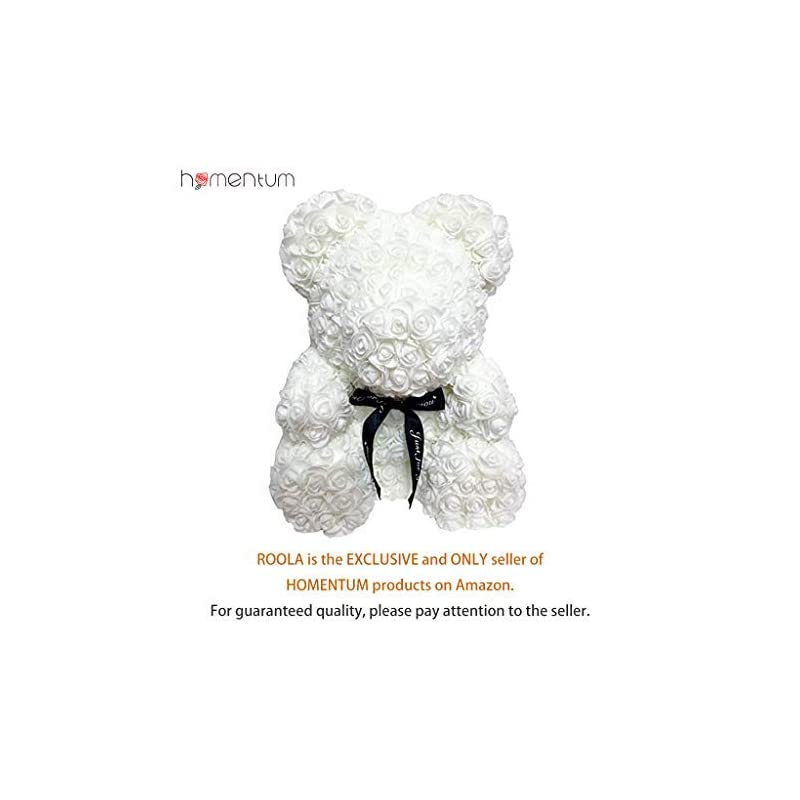 silk flower arrangements homentum rose bear teddy forever artificial flowers are the best gifts for valentine's day, anniversaries, birthdays, weddings (white, large)