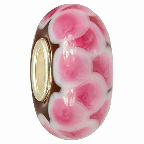imppac Cristal Bead ladrillo color rosa 925plata Spacer smb8112