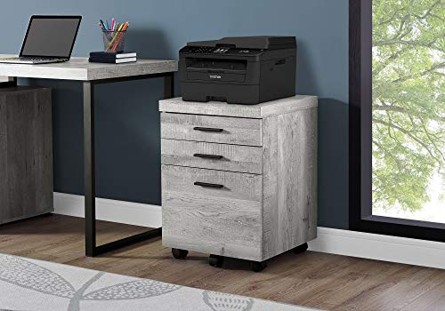 Monarch Specialties 3 Drawer File Cabinet - Filing Cabinet (Grey)