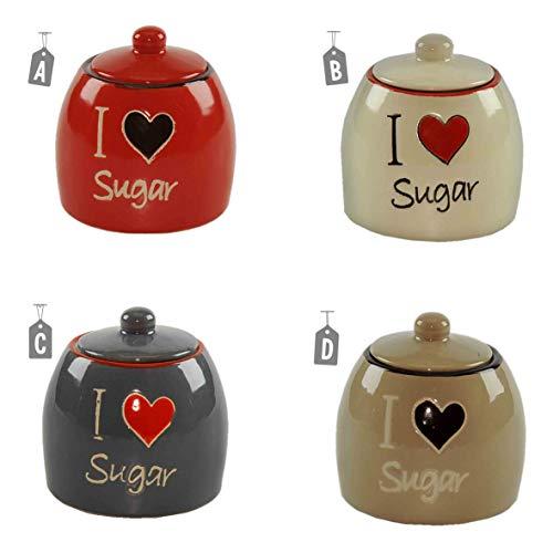 Gicos Zuccheriera Ceramica I Love Sugar 4 Colori