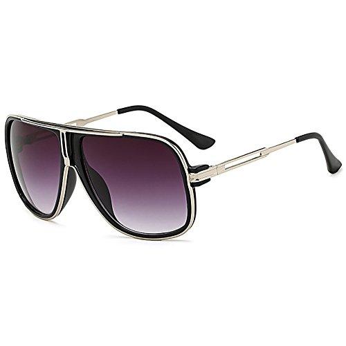 SHEEN KELLY Retro 80er Vintage Piloten Sonnenbrillen Metall Damen Herren Die klassische eyewear Neutral Große Transparente brillen Luxus, Blau,