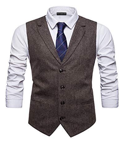 YCUEUST Elegante Chaleco Hombre Casual Negocio Ceremonia Boda Slim Fit Traje Blazers Gris Large