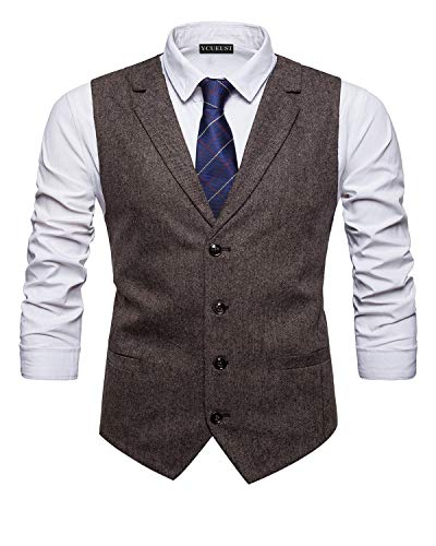 YCUEUST Elegante Chaleco Hombre Casual Negocio Ceremonia Boda Slim Fit Traje Blazers Gris x-Large