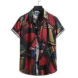 T-Shirt Hombre Verano Cuello V Moda Color Cuadros Estampado Hombre Playa Camisa Personalidad Botón Placket Manga Corta Casual Camisa Suelta Vacaciones Hombre Hawaiana Camiseta E-003 XL
