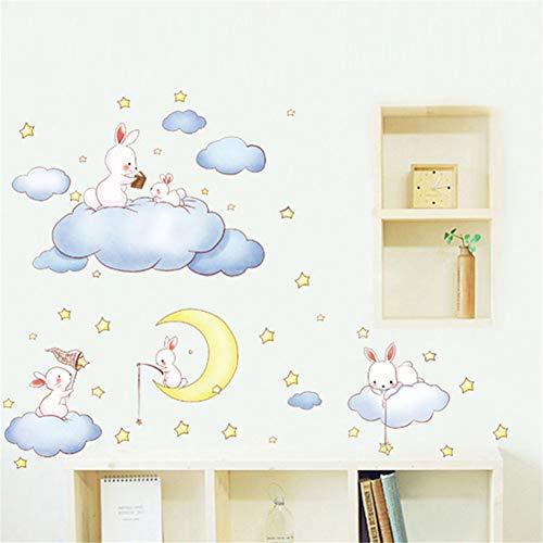 Adesivo murale animali conigli Fai da te Nuvole di cartoni animati Stelle Luna per Cameretta Cameretta Decorazioni per la casa dei bambini