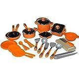 TikTakToo 28tlg Kinder Kochgeschirr Puppengeschirr Topfset Puppenküche Puppentöpfe (orange)