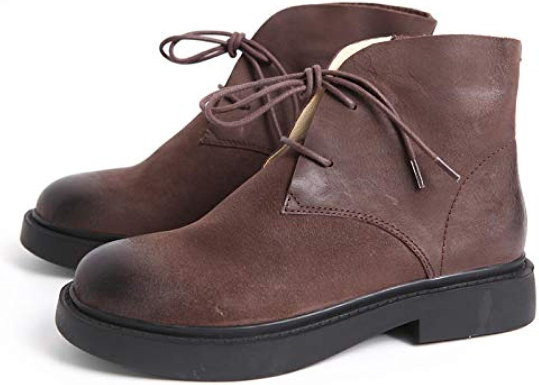 HOESCZS Damenschuhe Handmade Retro Schuhe Leder Damen Single Stiefel Stiefel Herbst Vollleder Martin Stiefel  billig in hoher Qualität