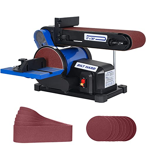 BILT HARD 4.3A Belt Disc Sander Combo, 6 Inch Disc and 4 x 36 Inch Belt Sander for Woodworking with 14 Piece Sanding Paper Kit