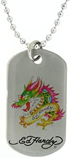 Ed Hardy Dragon Color Print Dog Tag in Stainless Steel