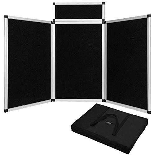 Voilamart 3 paneles Biombo Plegable Separador de Espacios para Museos, Bibliotecas, Exposiciones Panel de(Negro)