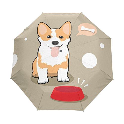 Naanle Corgi Dog with Bowl Bubble Dream Bone Auto Open Close Foldable Windproof Travel Umbrella