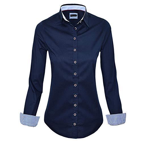 HEVENTON Bluse Damen Langarm in Navy Hemdbluse - Größe 34 bis 50 - Elegant und Hochwertig Farbe Navy, Größe 38