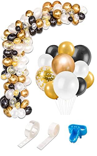 Globos Negros Blanco Dorados Arch, 120 piezas Kit de Guirnalda de Globos Arco de de Confeti Dorados para Cumpleaños Niños Fiestas Bodas Comunion Baby Shower Fiesta Arco y Otras Celebraciones