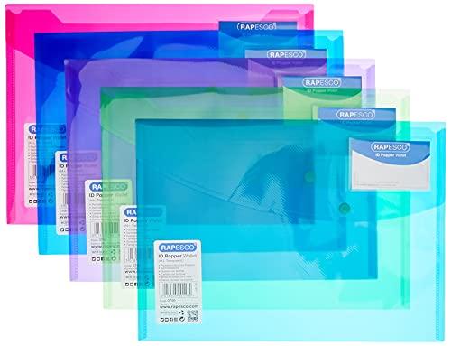 Rapesco documentos - Carpeta portafolios A4+ con soporte para tarjeta, colores traslúcidos. 5 unidades