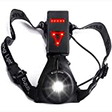 Chest Running Light USB Rechargeable - LED Flashlight with Warning Triangle Taillight for Jogging Night Dog Walking Camping Fishing