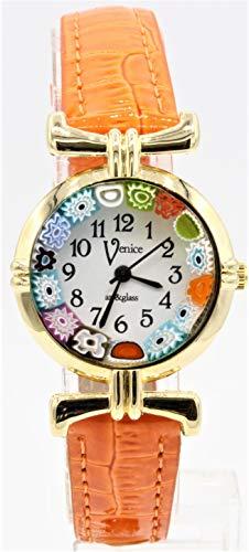 Orologio Donna Murrina Veneziana Millefiori Colore Oro Pelle watch in Vetro di Murano (Arancio 06) Lady