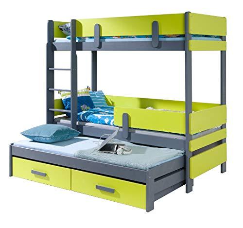 Ye Perfect Choice Triple Bunk Bed ETTY3 Modern Trundle High Sleeper Mattress Drawers Ladder 3 Children Pine Wood (Left Hand Side, UK Single Standard Size)