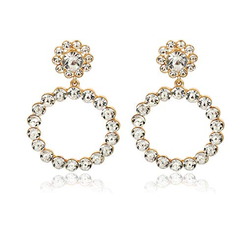 Drop Dangle Earrings, Gold Plated Rounded Hoops Earrings | Imitated Crystal Drop Dangle Earrings for Women Girls Gold