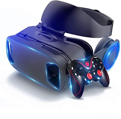 DDRY VR-Headset Virtual-Reality-Headsets VR Brille HD mit Game-Controller Gamepad für Filme Videospiele für iPhone 12/Pro/Max/Mini/11/X/Xs/8/7 für Samsung & Android-Handys, W/4,7-6,8 Zoll