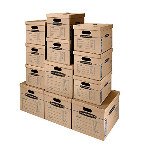 Bankers Box SmoothMove Classic Moving Kit Boxes, Tape-Free Assembly, Easy Carry Handles, 8 Small 4 Medium, 12 Pack (7716401), Brown