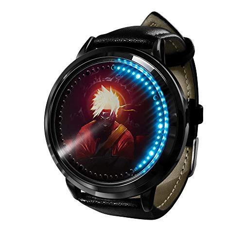 Naruto nuevos Relojes de Moda, niñas, niños, niñas, Relojes de Cuarzo de Cuero de Dibujos Animados, Relojes Casuales para Damas.-B