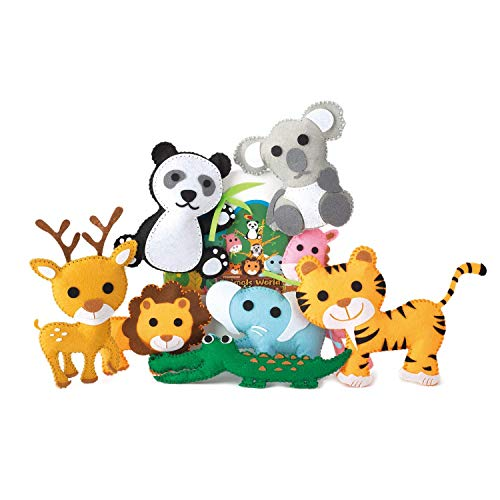 TESMAINS Animals World Kids Educational Sewing Kit Crafts for 6 to 12 Years Old -8 Animals