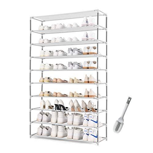 HODYANN 10-Tier Shoe Rack, Non-woven Fabric Storage Organizer, 50 Pairs Space-saving Shoe Tower