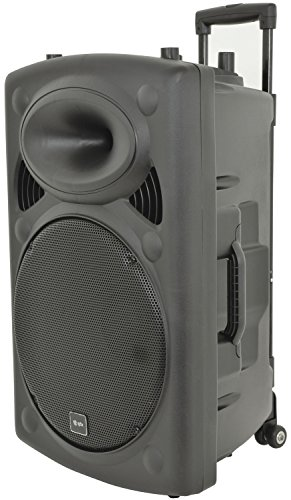 QTX | Rechargeable Battery 15' Portable PA Speaker System 500W | Complete With 2 x Wireless Mics, Media Player with Wireless Remote Aux, USB & SD card Inputs