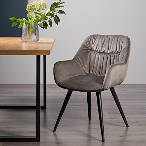 Home Origins Dali - Par de sillas de tela de terciopelo gris con patas recubiertas de polvo negro arena