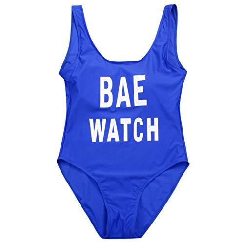 TTLOVE_Damen Sommer Figurformenden Bademode Solid Brief Einteiliger Bikini Badeanzug Strand Tragen Effekten RüCkenfrei Strandkleidung (Blau,L)