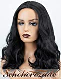 Scheherezade Brown Ombre Lace Front Wigs, Short Wavy Synthetic Wig with Dark Roots