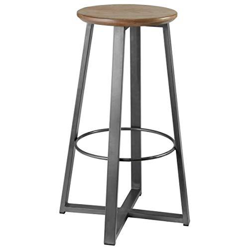 VEGA 30014351 Barhocker Metalio mit Holzsitz, 38x38x80 cm (BxTxH), Sitz eiche antik, Gestell grau, 1 Stück